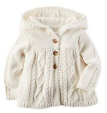 Carter's Baby Girl Hooded Chunky Cable-knit Cardigan - Ivory - 12 Months