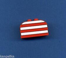 Lego--4744px4---Sonderstein--2 x 4 x 2 --Rot/ Weiße Streifen
