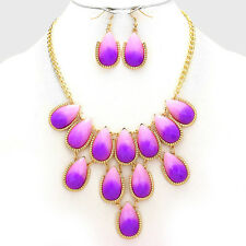 Gold and Purple Ombre Teardrop Cluster Acrylic Necklace Set