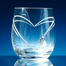 Diamante Crystal Heart Whisky Glass Engraved Personalised Birthday Leaving Gift