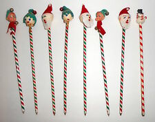 Vintage CHRISTMAS PENCILS Elves Santa Snowman Heads 8 Pencil Toppers Japan