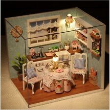 Happiness Kitchen DIY Wooden Dollhouse Miniature Kit Model w Lamp No Cover