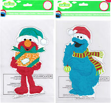 Sesame Street Muppets Elmo and Cookie Monster Christmas Window Gel Clings