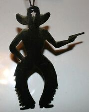 """Cowboy with Gun - Metal Silhouette - 4"""" X 3"""" - Handcrafted Ornament NEW!"""