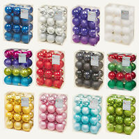 Christmas Tree Decoration 24 Pack 60mm Shatterproof Baubles - Various Colours