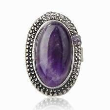 Fashion Oval Vintage Simulated Amethyst Ring Adjustable Silver Plated Jewelry