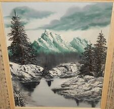 JOAN VOLDEN SNOW MOUNTAIN RIVER LANDSCAPE LARGE OIL ON CANVAS PAINTING