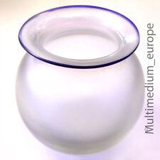 Eisch Glas Vase Mattglas Perlmutt Glas mit Rand blau leicht irisierend Kunstglas