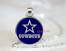 Dallas Cowboys football NFL Glass Cabochon Chain Pendant Necklace Jewelry