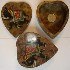 New Vintage India Hand Made Soapstone Heart Trinket/Jewelry Boxes  ~Circa 1980~