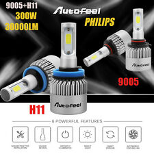 300W 30000LM Total 9005 H11 Combo LED Headlight Kit Hi-Lo Beam Light 6500K Bulbs