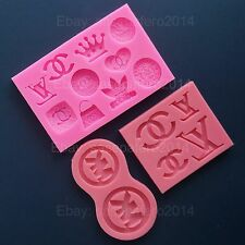 Designer logo silicone molds for fondant, resins, clays chocolate 3 pcs. Lot
