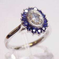 18ct Solid White Gold Natural Oval 0.6ct Diamond & Sapphire Ring