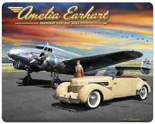 Amelia Earhart Airplane Hot Rod Classic Car Metal Sign Man Cave Grossman LG327