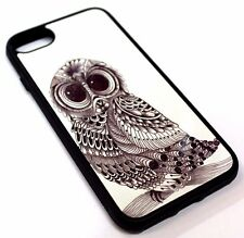 For iPhone 7 - CUTE OWL SKETCH DESIGN HARD SOFT RUBBER SILICONE SKIN CASE COVER