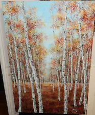 LARGE OIL ON CANVAS RIVER LANDSCAPE TREE PAINTING SIGNED SHIAG
