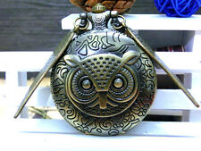 Antique Flying OWL wing charm bronze steampunk victorian pocket watch necklace.