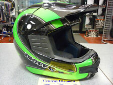 CASCO CROSS BIEFFE MX SPORT XL BLACK AND GREEN MOTORCYCLE HELMET HELM CASQUE NEW