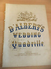 D'ALBERTS WEDDING QUADRILLE OLD ANTIQUE PIANO SONG SHEET MUSIC ORIG VICTORIAN
