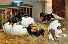 Vintage German Art~Easter Dachshund Puppy Dogs & Bunny Rabbits~NEW Lg Note Cards