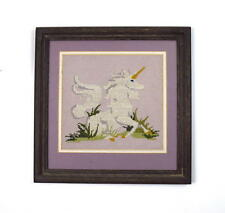 Vtg Framed Needlepoint Unicorn Lavender Wall Art Horse Textile Decor Decorative