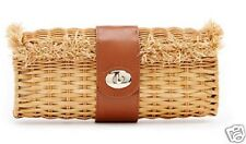 "New/Tag VINEYARD VINES ""Natural Wicker Minaudiere"" Leather Clutch-Hand Bag-Purse"