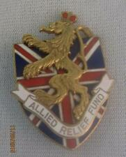 CARTIER WWII ALIED RELIEF FUND ENAMELED UNION JACK & LION PIN  1940- BOOK PIECE