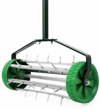 Lawn Spike Aerator Garden Outdoor Rolling Grass Steel Roller Aluminum Handle New