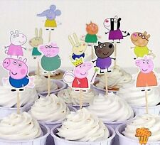 24pcs Papa Pig Cupcake Toppers Child Kids Birthday Party Decoration Baby Shower
