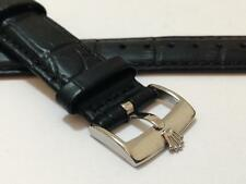ROLEX 20MM GENUINE LEATHER WATCH STRAP,BLACK, STAINLESS STEEL BUCKLE.(WZ-S11)