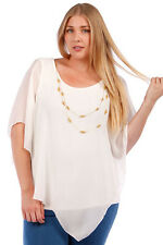 NEW! WOMEN'S PLUS SIZE CLOTHING FLOWING WHITE SUMMER TOP&ATTACHED NECKLACE 4X