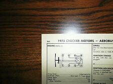 1973 Checker Motors Aerobus Models 350 V8 4BBL SUN Tune Up Chart Great Shape!