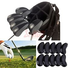 10pcs Black Neoprene Golf Club Protective Iron Head Cover Wedge Sock Headcover