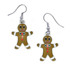 Gingerbread Man Cookie Dangle Charm Earrings Christmas Birthday Gift for Bakers