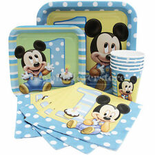 Disney Baby Mickey 1st Birthday Party Express Pack 8 guests(Plates,Cups,Napkins)