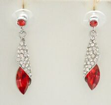 Tear Drop Dangling Post Earrings W Clear Crystals / Silver-tone / Red or Purple