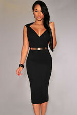Sexy Sleeveless Black O-Neck Midi Bodycon Dress w/ Belt Bodycon Celeb Style 73