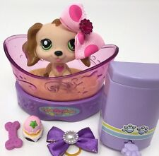 Littlest Pet Shop Lot Tan Cocker Spaniel Dog Heart #1973 Green Eyes Accessories