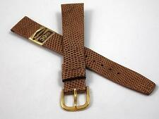 "16mm 5/8"" Vintage Watch Band Mens Stylecraft Honey Royal Lizard Gold Tn Bckl NOS"