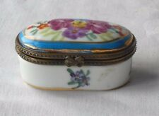 LIMOGES  FLORAL HAND PAINTED HINGED TRINKET BOX