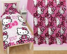 "Hello Kitty Bows Single Duvet and Matching 66 x 54"" Curtains Set"