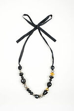 Marni Black Silver Gold Tone Metal Wood Chunky Beaded Ribbon Necklace