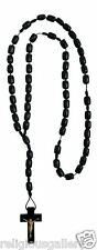 Men's All Black Color Wood Rosary with Cross - Made in Brazil
