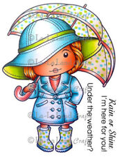 MARCI WITH UMBRELLA-La-La Land Crafts Mounted Cling Rubber Stamp-Stamping Craft