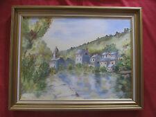 """Belle huile sur toile """" le village prés de la rivière """""""