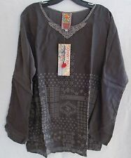 $216 JOHNNY WAS EMBROIDERED EYELET TUNIC TOP DOLMAN RAYON STONE GREY SZ L  NWT
