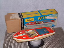 VINTAGE SCHUCO CLOCKWORK PITT BOAT. WORKING & 100% COMPLETE W/BOX. TIN DECK!!
