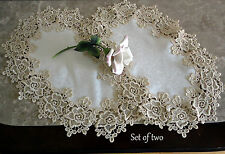 "Rose Lace Set of 2 Place Mats/Doilies (18.5""x12"") Soft Gold / Ivory Doily"