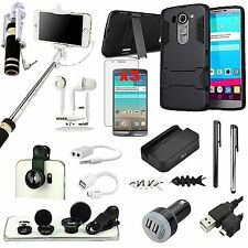 Kickstand Case+Camera Lens+Selfie Stick Monopod+Charger Accessory For LG G4