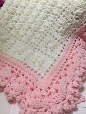 SOFT Crocheted Sweet Dreams Baby Blanket Afghan White And Pink
